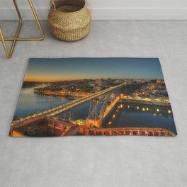 Porto twylight bridge Rug