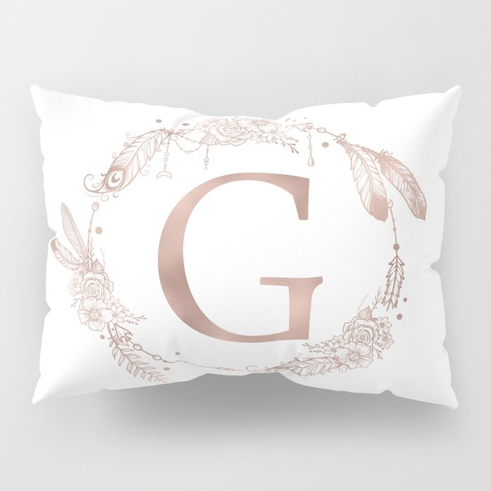Letter G Rose Gold Pink Initial Monogram Pillow Sham