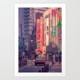 Morning Tokyo Taxi Art Print