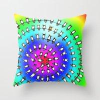 fibonacci Throw Pillows featuring Penguin Fibonacci by Jean Rim