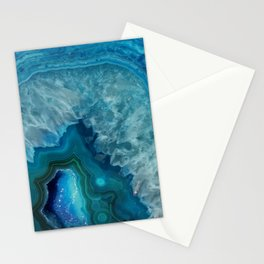 Teal Blue Agate slice Stationery Cards