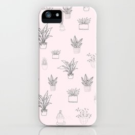 Cute Pink House Plant Pattern iPhone Case