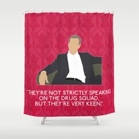 greg guillemin Shower Curtains featuring A Study in Pink - Greg Lestrade by MacGuffin Designs