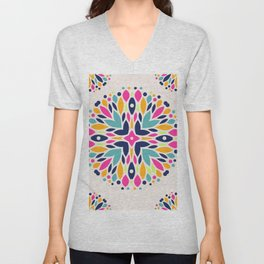 Colorful Ethnic Festive Abstract Floral Pattern Unisex V-Neck