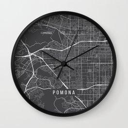 Pomona Map, USA - Gray Wall Clock