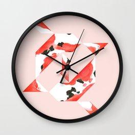 Tangram Koi - Pink background Wall Clock