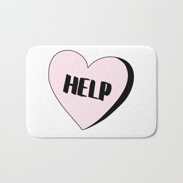 Help Candy Heart Bath Mat