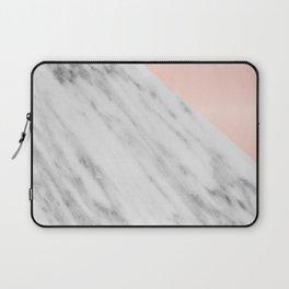 Real Carrara Italian Marble and Pink Laptop Sleeve