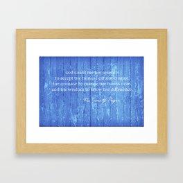 SERENITY PRAYER: BLUE BARN Framed Art Print
