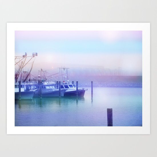 Moored Boats In the Early Morning Fog Art Print