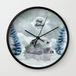 Cute polar bear baby Wall Clock