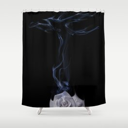White rose, love and birds Shower Curtain