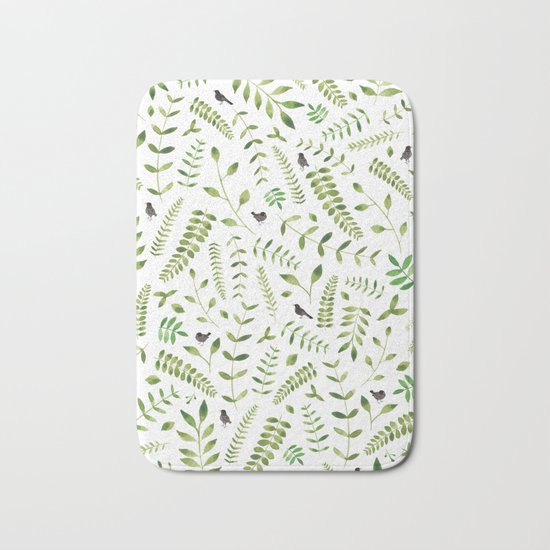 The Birds and the Leaves Bath Mat