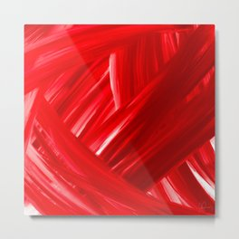 Woven 6 Red - Abstract Art Series by Jennifer Berdy Metal Print