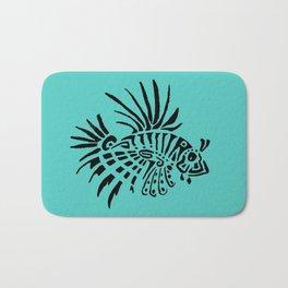 Poisson lion - turquoise Bath Mat