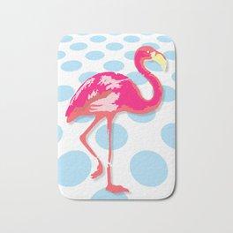 Flamingo, blue dots Bath Mat