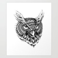 ornate Art Prints featuring Ornate Owl Head by BIOWORKZ