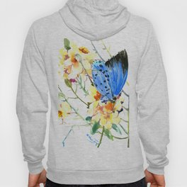 Holly Blue Butterfly and Yellow Flowers Hoody