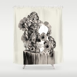 Life on a pedestal, floral skull Shower Curtain