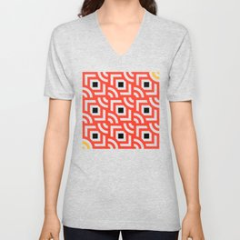 Round Pegs Square Pegs Red-Orange Unisex V-Neck
