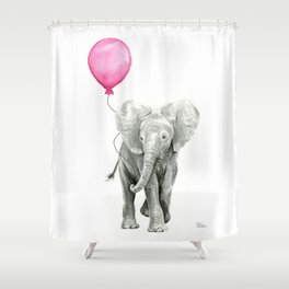 Elephant Watercolor Pink Balloon Whimsical Baby Animal Nursery Girl Art Shower Curtain