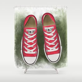 red converse//for young soul//red sneakers on the grass//digital print//for youth//baseball Shower Curtain