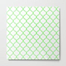 Moroccan Trellis (Light Green & White Pattern) Metal Print