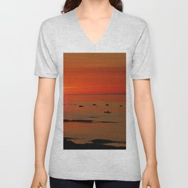 Kayaker and the Setting Sun Unisex V-Neck