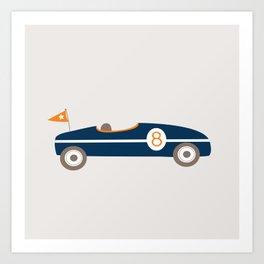 Soapbox Derby Blue Car Art Print