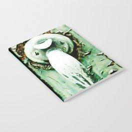 Green Door Handle, Peeling Turquoise Paint, Rusty Door Notebook