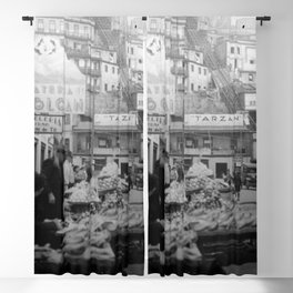 """Valparaiso Chile: Waterfront district showing """"ascensors"""" up to top of bluff. June, 1941. Blackout Curtain"""