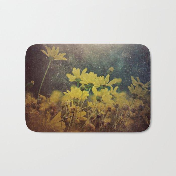 Abstract Yellow Daisies Bath Mat