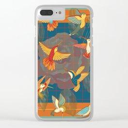 Hummingbirds in Orange Clear iPhone Case