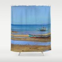 philippines Shower Curtains featuring Philippines beach by Maria Zborovska