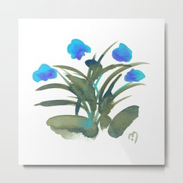 Atom Flowers #34 in blue and green Metal Print