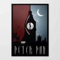 peter pan Canvas Prints featuring Peter Pan by Rowan Stocks-Moore