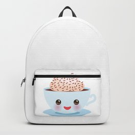 Cute blue Kawai cup, coffee with pink cheeks and winking eyes Backpack