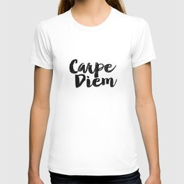 Carpe Diem black and white monochrome typography poster design bedroom wall art home room decor T-shirt