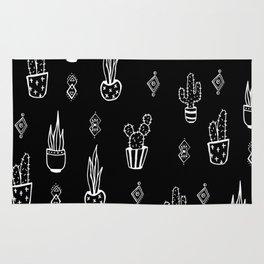 Boho Cactus, Black and White Succulent Art Rug