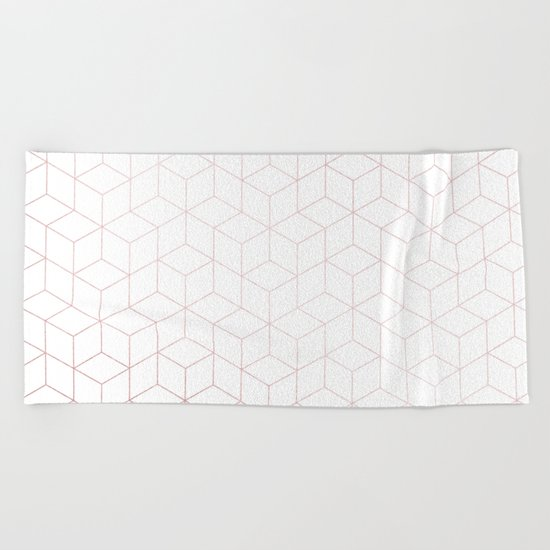 Simply Cubic in Rose Gold Sunset Beach Towel
