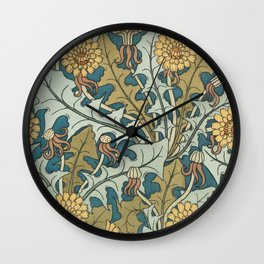 Art Nouveau Dandelion Pattern Wall Clock