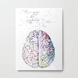Brain with Quote and Flying Birds Metal Print