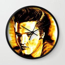 Elvis in Orange-Gold Wall Clock
