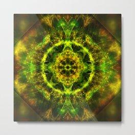 Vibrant electric fractal mandala Metal Print