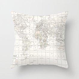 Cream Map Throw Pillow