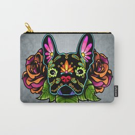 French Bulldog in Black - Day of the Dead Bulldog Sugar Skull Dog Carry-All Pouch