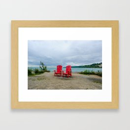 Red Chairs at Bluffers Park and Beach Framed Art Print