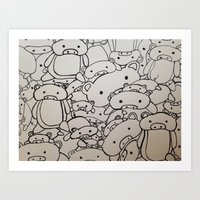 pigs Art Prints featuring Pigs! by Chanicecollette