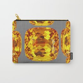 NOVEMBER GOLDEN TOPAZ FACETED GEMS GREY ART Carry-All Pouch
