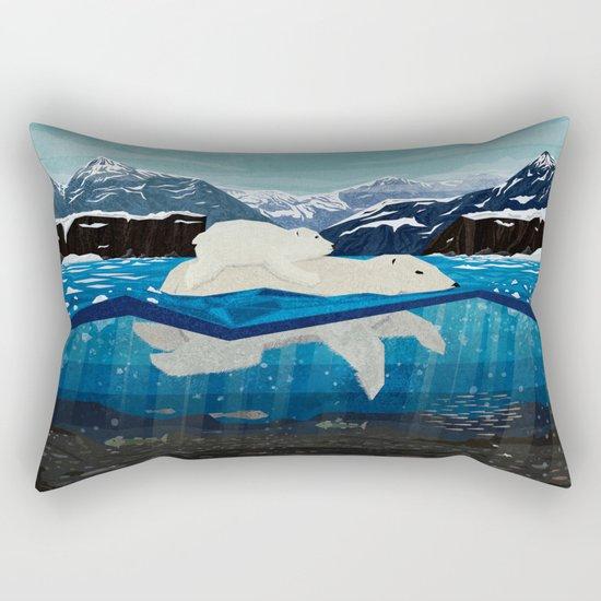 Polar bear mom and Cub Swimming  Rectangular Pillow